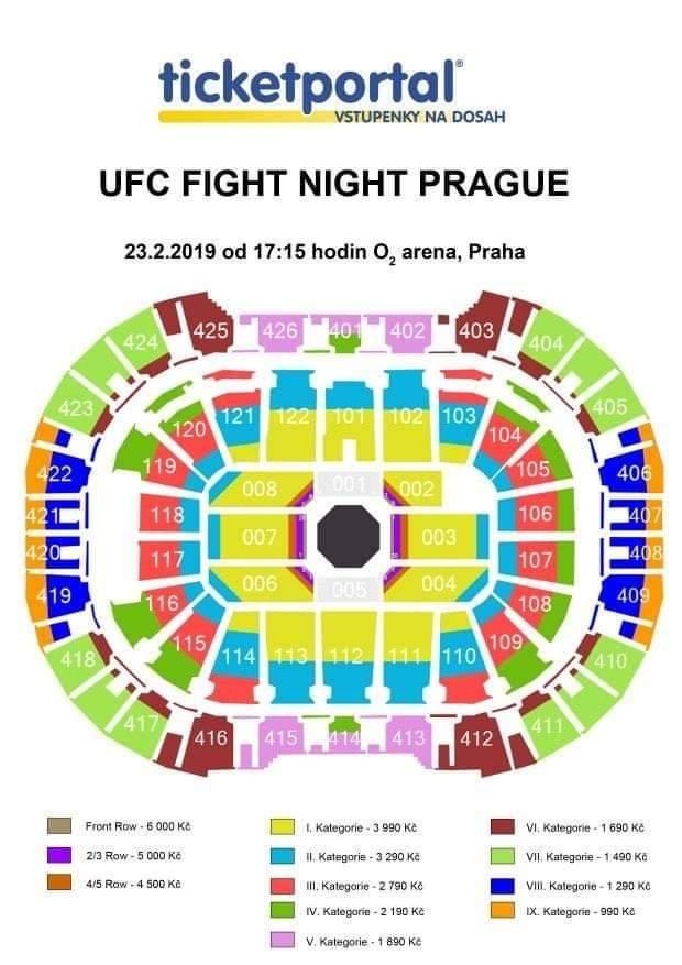 UFC Praha rozmístění lístků
