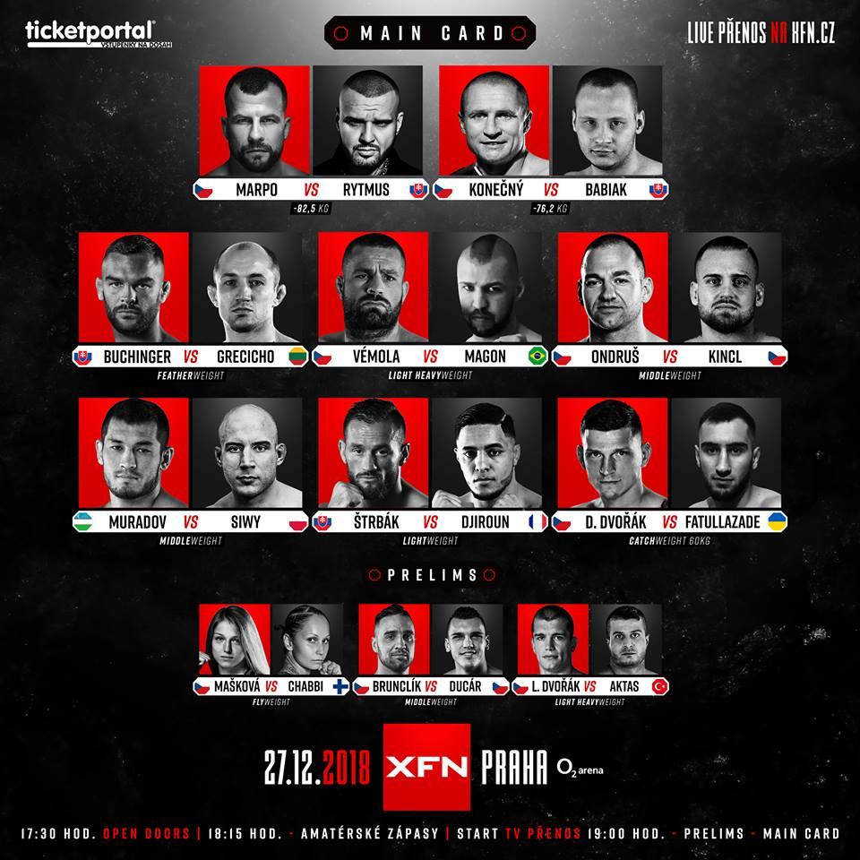 XFN 15 - Marpo vs. Rytmus - Kompletní fightcard