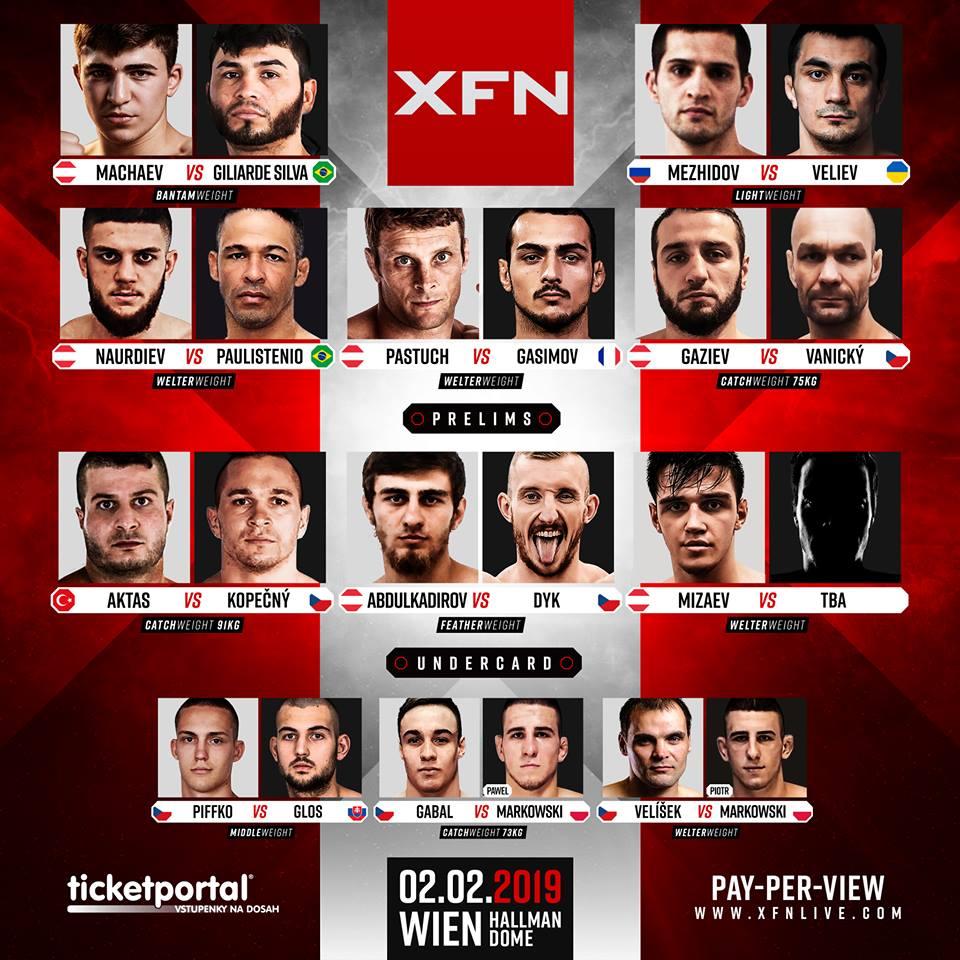 XFN 16 Vídeň - fightcard (zápasy)