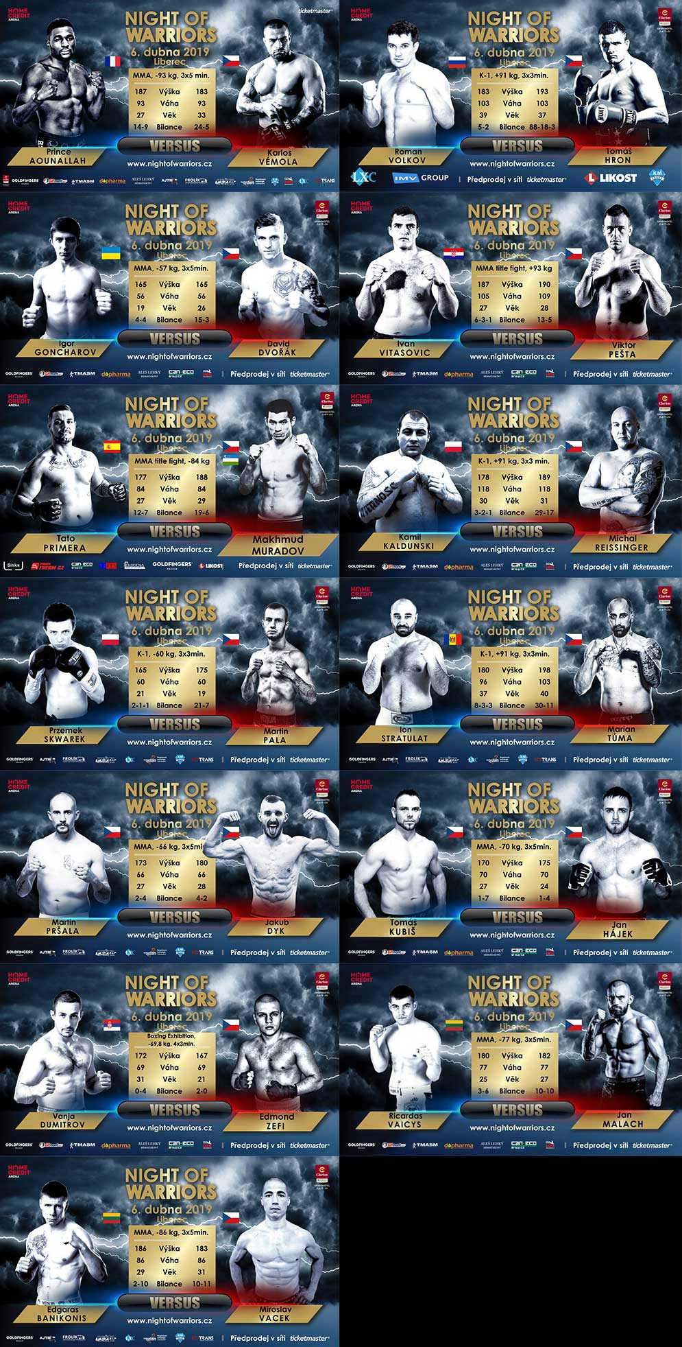 Night Of Warriors - Liberec 2019 - Fightcard (program)