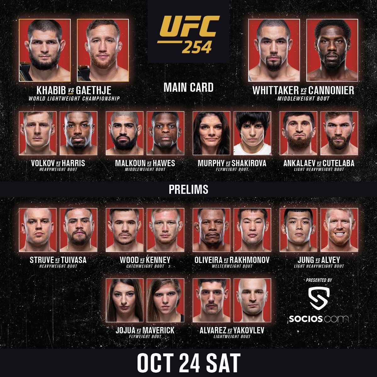 UFC 254: Khabib vs. Gaethje - FIGHT CARD (KARTA)